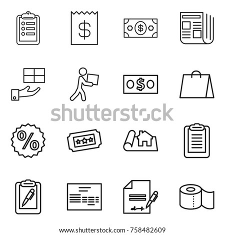 Thin line icon set : clipboard, receipt, money, newspaper, gift, courier, shopping bag, percent, ticket, project, pen, invoice, inventory, toilet paper