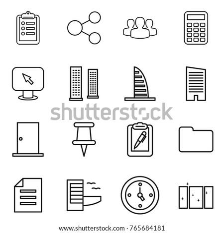 Thin line icon set : clipboard, share, group, calculator, monitor arrow, skyscrapers, skyscraper, door, pin, pen, documents, document, hotel, watch, clean window