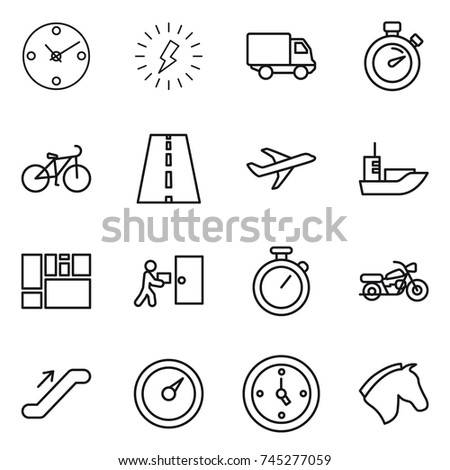 thin line icon set   clock