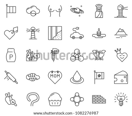 thin line icon set   cloud