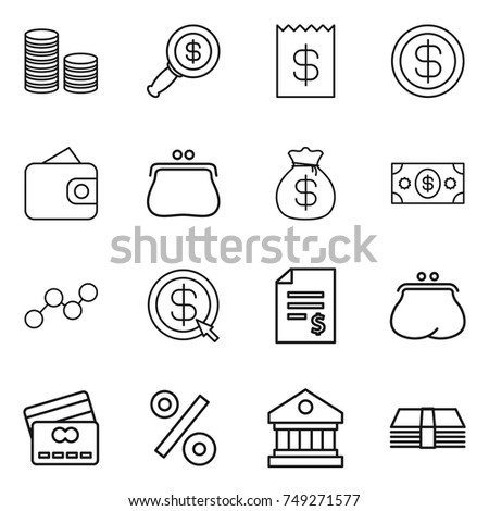 thin line icon set : coin stack, dollar magnifier, receipt, wallet, purse, money bag, graph, arrow, account balance, credit card, percent, library
