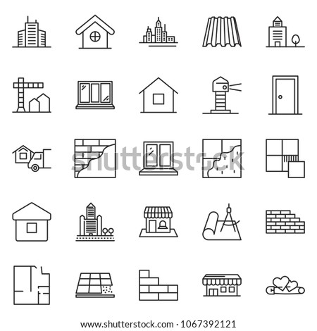 thin line icon set - construction vector, home delivery, office building, downtown, window, plan, brick wall, plastering, roof sheet, tile, door, draw, lighthouse, pin hearts