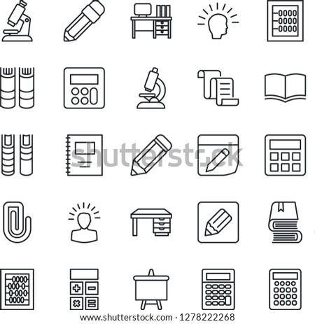 Thin Line Icon Set - contract vector, book, calculator, abacus, desk, presentation board, pencil, microscope, notes, copybook, paper clip, shining head #1278222268