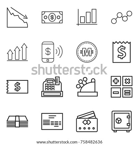 Thin line icon set : crisis, money, graph, up, phone pay, crypto currency, receipt, cashbox, calculator, invoice, credit card, safe