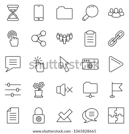 thin line icon set - cursor vector, hand touch, phone, browser globe, settings, volume off, locked, group, share, flower pot, check, document, folder, network, sand clock, play, chat, clipboard