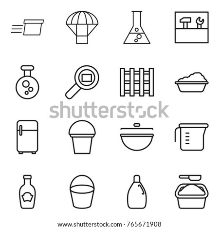 Thin line icon set : delivery, parachute, flask, tools, chemical, cargo search, pallet, washing, fridge, bucket, cauldron, measuring cup, ketchup, cleanser, powder