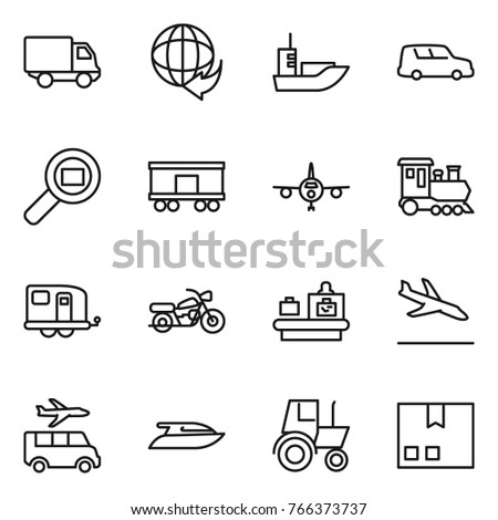 thin line icon set   delivery