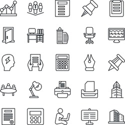Thin Line Icon Set - desk vector, document, brainstorm, meeting, drawing pin, printer, monitor pulse, clipboard, paper, calculator, presentation board, office building, ink pen, chair, point graph