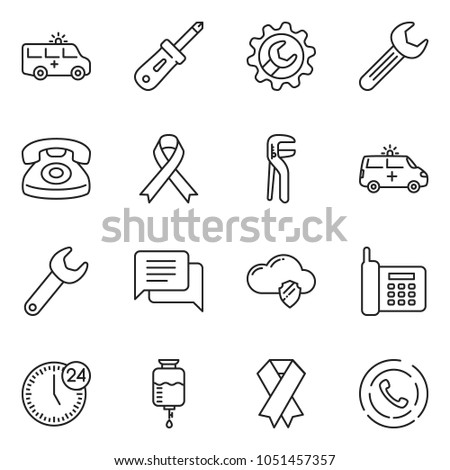 thin line icon set - dialog vector, 24 hours, phone, cloud shield, wrench gear, screwdriver, adjustable, ribbon, ambulance car, drop counter, horn
