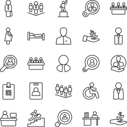 Thin Line Icon Set - disabled vector, bed, pedestal, team, meeting, manager place, pregnancy, client, user, identity card, desk, career ladder, company, search, estate agent, waiter, consumer
