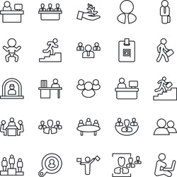 Thin Line Icon Set - dispatcher vector, baby, reception, pedestal, team, meeting, manager place, group, company, identity card, hr, desk, career ladder, client search, estate agent, palm sproute