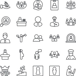 Thin Line Icon Set - dispatcher vector, male, female, vip, reception, speaking man, team, doctor, pregnancy, client, group, company, identity card, hr, manager desk, meeting, career ladder, search