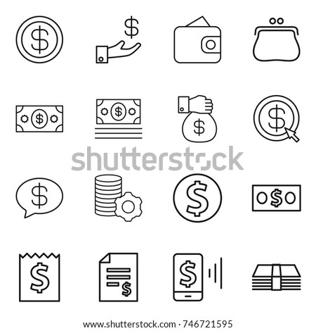 thin line icon set : dollar, investment, wallet, purse, money, gift, arrow, message, virtual mining, coin, receipt, account balance, mobile pay #746721595