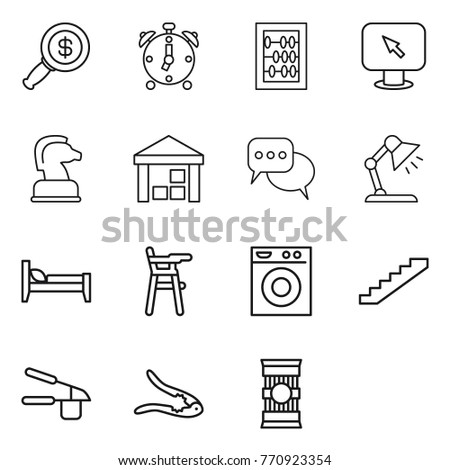 Thin line icon set : dollar magnifier, alarm clock, abacus, monitor arrow, chess horse, warehouse, discussion, table lamp, bed, Chair for babies, washing machine, stairs, garlic clasp, walnut crack