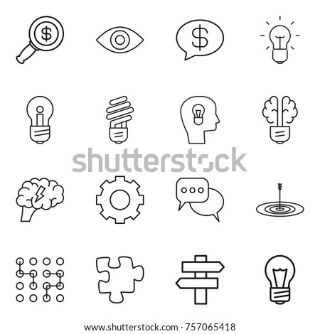 Thin line icon set : dollar magnifier, eye, money message, bulb, head, brain, gear, discussion, target, chip, puzzle, singlepost