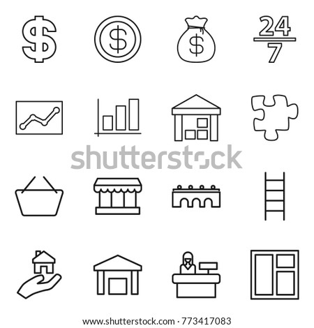 thin line icon set   dollar