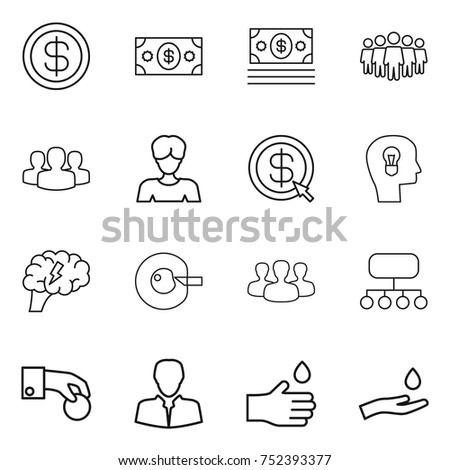 thin line icon set : dollar, money, team, group, woman, arrow, bulb head, brain, cell corection, structure, hand coin, client, drop, and #752393377