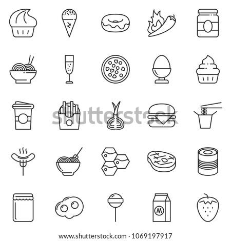 thin line icon set - donut vector, pasta, honeycombs, egg stand, pizza, steak, lollypop, french fries, hamburger, cupcake, jam, sausage, omelette, canned food, milk, ice cream, Chinese, coffee cup