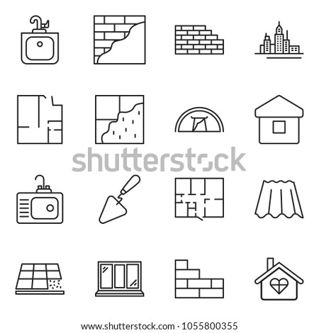 thin line icon set - downtown vector, trowel, window, plan, sink, brick wall, plastering, roof sheet, tile, home, tent, love