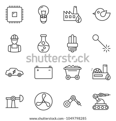 stock-vector-thin-line-icon-set-fan-vector-oil-jack-mine-trolley-flask-battery-bulb-eco-factory-workman