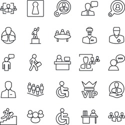 Thin Line Icon Set - female vector, vip, speaking man, pedestal, team, meeting, manager place, disabled, doctor, client, speaker, group, user, hr, desk, career ladder, search, consumer