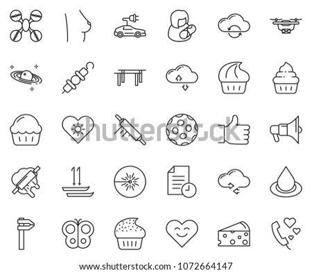 thin line icon set - finger up vector, cloud exchange, cheese, cupcake, kebab, rolling pin, butterfly, mother day, water drop, laser, calipers, breast, saturn, electric car, drone, history, golf