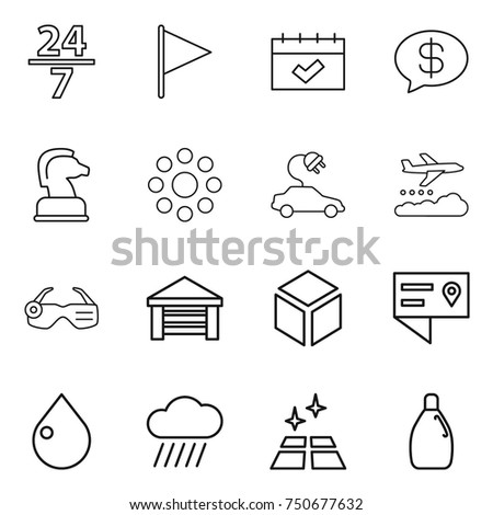 thin line icon set   24 7  flag