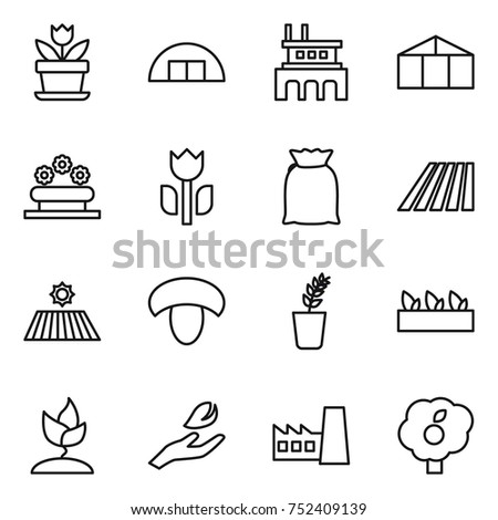 Thin Line Icon Set Flower Hangare Factory Greenhouse Bed