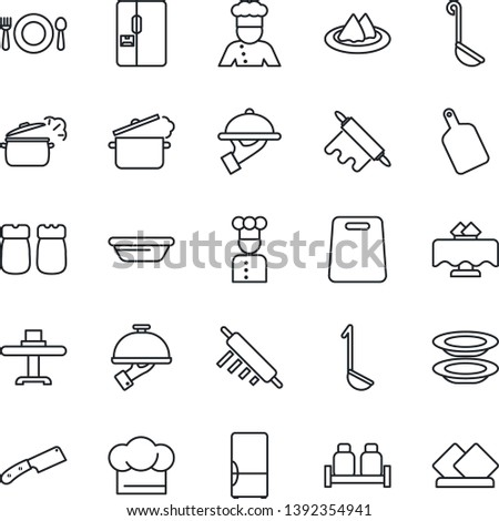 Thin Line Icon Set - fridge vector, cook, restaurant table, serviette, cafe, hat, plates, waiter, salt and pepper, ladle, bowl, rolling pin, cutting board, knife, steaming pan