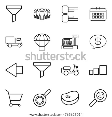 Thin line icon set : funnel, team, diagram, calendar, truck, parachute, cashbox, money message, left arrow, scooter shipping, sorting, cart, pan, steake, viruses
