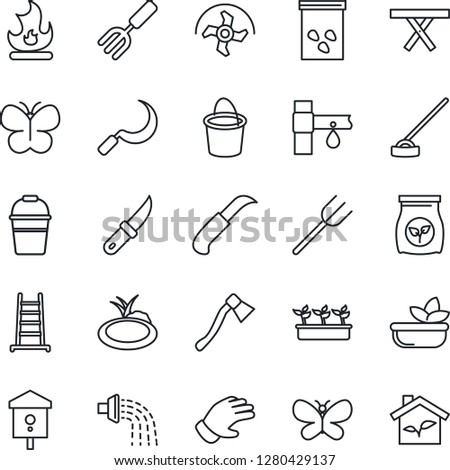 Stock Photo Thin Line Icon Set - garden fork vector, farm, ripper, ladder, bucket, watering, glove, butterfly, fire, seedling, hoe, sickle, knife, axe, seeds, pond, picnic table, bird house, fertilizer, salad