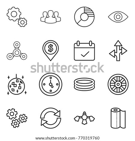 thin line icon set gear group circle diagram eye spinner Piston Set Diagram thin line icon set gear group circle diagram eye spinner