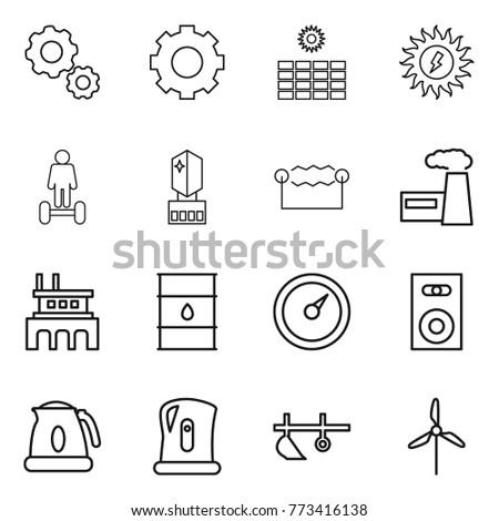 thin line icon set   gear  sun