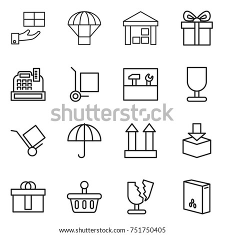 thin line icon set   gift
