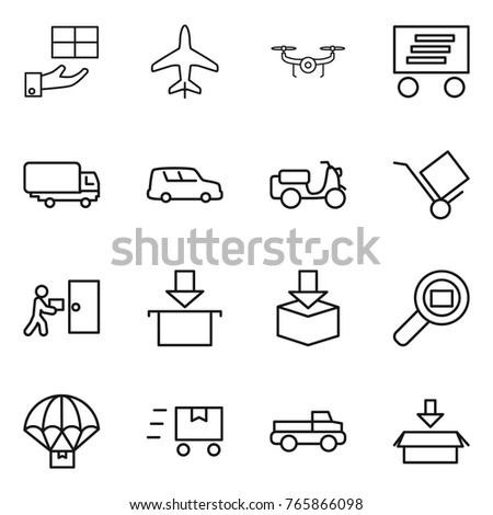 Thin line icon set : gift, plane, drone, delivery, shipping, car, scooter, trolley, courier, package, cargo search, parachute, fast deliver, pickup