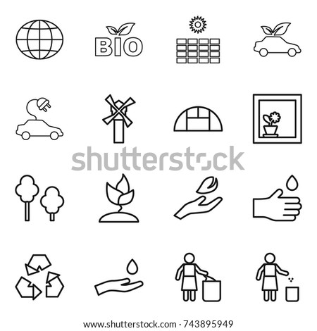 thin line icon set : globe, bio, sun power, eco car, electric, windmill, greenhouse, flower in window, trees, sprouting, hand leaf, drop, recycling, and, garbage bin