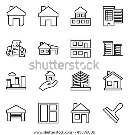 thin line icon set : home, cottage, houses, modern architecture, house with garage, modular, district, city, real estate, office, window, scraper
