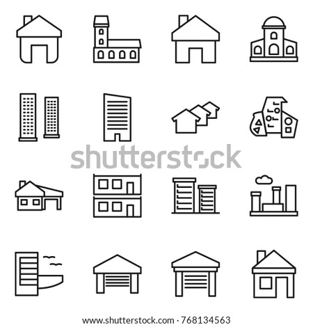 Thin line icon set : home, mansion, skyscrapers, skyscraper, houses, modern architecture, house with garage, modular, district, city, hotel