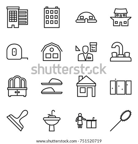 thin line icon set : houses, building, dome house, japanese, measuring tape, architector, water tap, dresser, slippers, clean window, scraper, sink, kitchen cleaning, duster #751520719