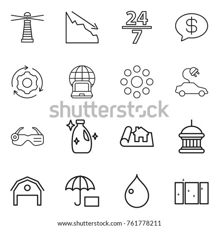 thin line icon set   lighthouse