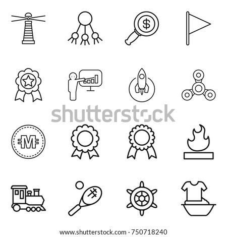thin line icon set : lighthouse, share, dollar magnifier, flag, medal, presentation, rocket, spinner, crypto currency, flammable, train, tennis, handwheel, handle washing