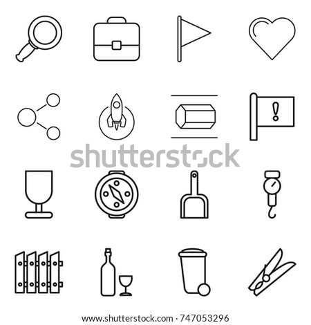thin line icon set   magnifier