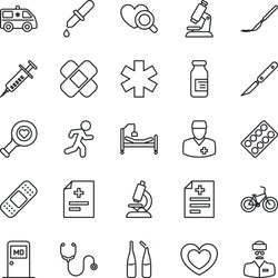 Thin Line Icon Set - medical room vector, heart, diagnosis, stethoscope, syringe, dropper, diagnostic, microscope, pills blister, ampoule, scalpel, patch, ambulance star, car, bike, run, doctor