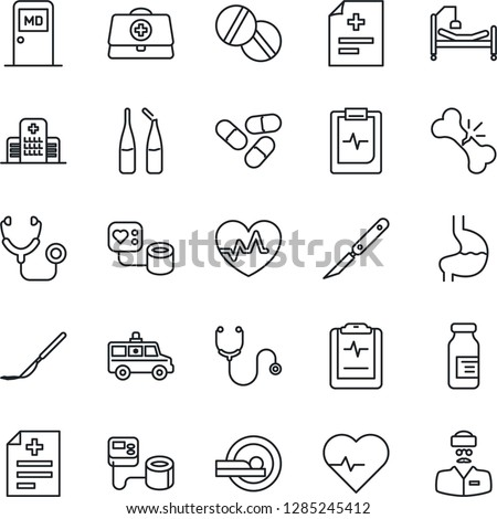 Thin Line Icon Set - medical room vector, heart pulse, doctor case, diagnosis, stethoscope, blood pressure, pills, ampoule, scalpel, tomography, ambulance car, hospital bed, stomach, broken bone