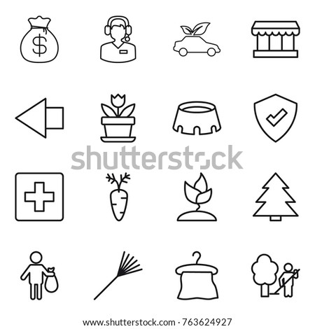 Thin line icon set : money bag, call center, eco car, market, left arrow, flower, stadium, protected, first aid, carrot, sprouting, spruce, trash, rake, hanger, garden cleaning