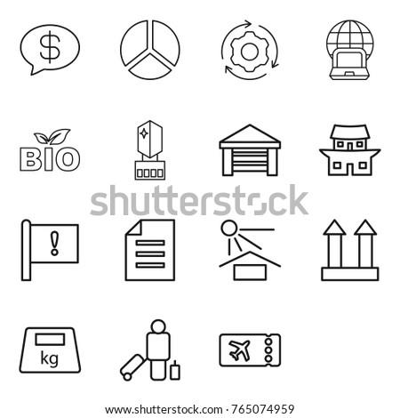 thin line icon set   money