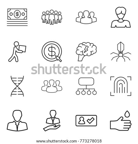 Thin line icon set : money, team, group, woman, courier, dollar arrow, brain, virus, dna, structure, fingerprint, client, check in, hand drop