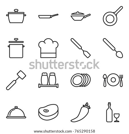 Thin line icon set : pan, cook hat, spatula, big spoon, meat hammer, salt pepper, plates, fork plate, meal cap, steake, hot, wine