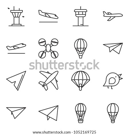 thin line icon set - paper plane vector, bird, air balloon, airport tower, departure, arrival, drone, paraplane