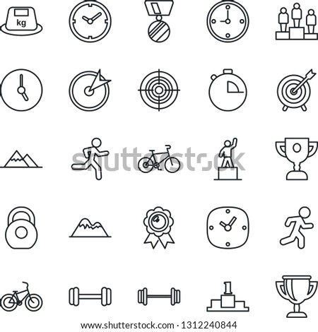 Thin Line Icon Set - pedestal vector, medal, barbell, bike, run, heavy, clock, stopwatch, target, mountains, award cup